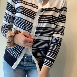 Loft navy and white striped cardigan